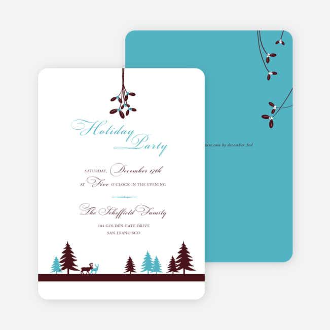 Mistletoe Holiday Party Invitations - Turquoise
