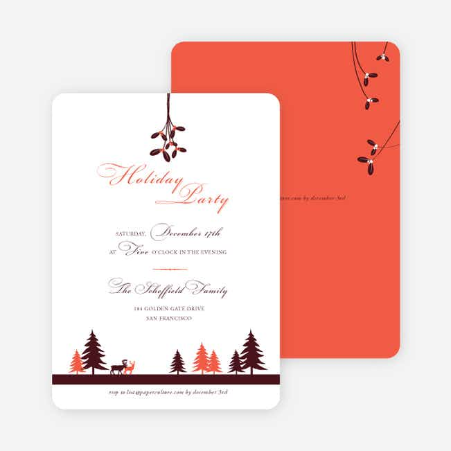 Mistletoe Holiday Party Invitations - Orange Red