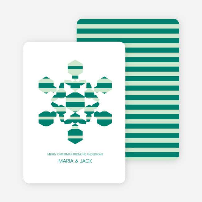 Modern Snowflake Holiday Greeting Cards - Teal