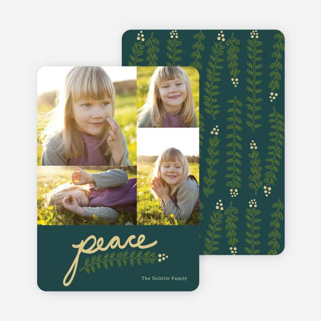 Peace and Love through Mistletoe Holiday Cards - Blue