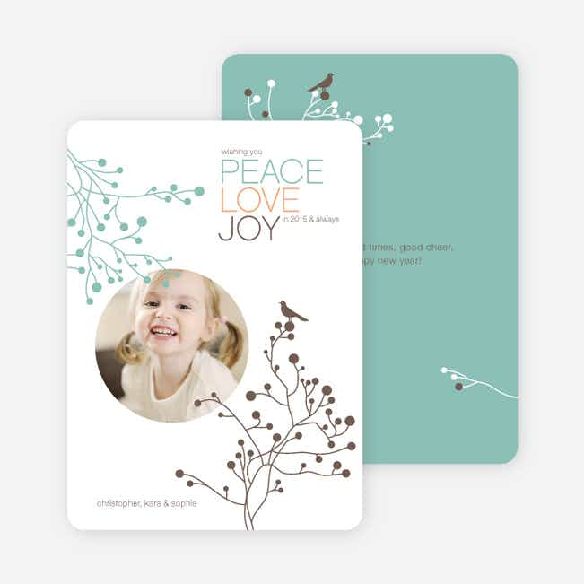 Peace Love Joy Holiday Photo Cards - Cocoa