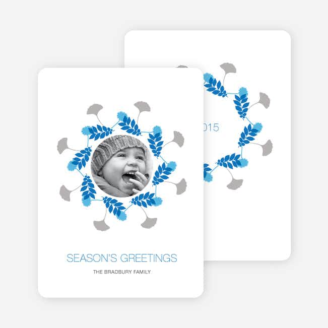 Pine Needles and Leaves Wreath Holiday Cards - Royal Blue