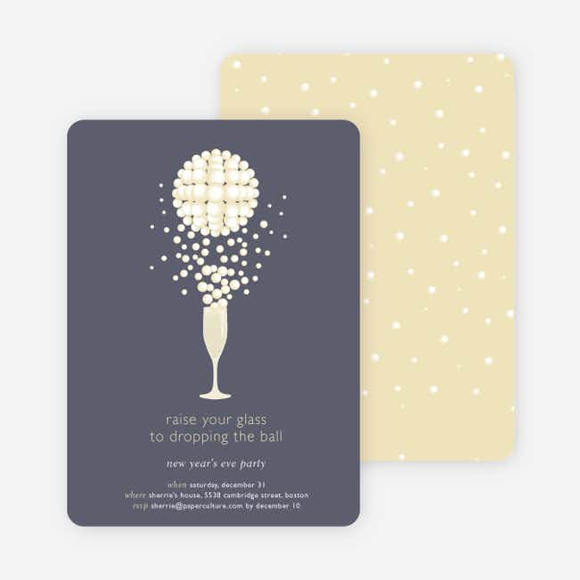 Pop the Champagne New Year's Party Invitations - Blueberry