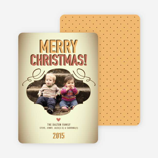 Vintage Christmas Holiday Photo Cards - Apricot