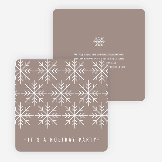 Snowflake Holiday Party Invitations - Gray