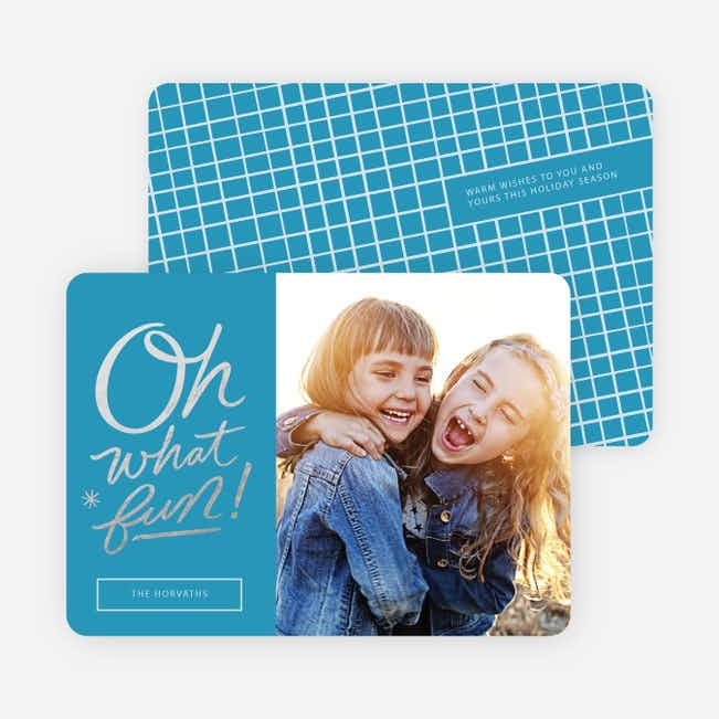 Oh What Fun Foil Holiday Cards - Blue