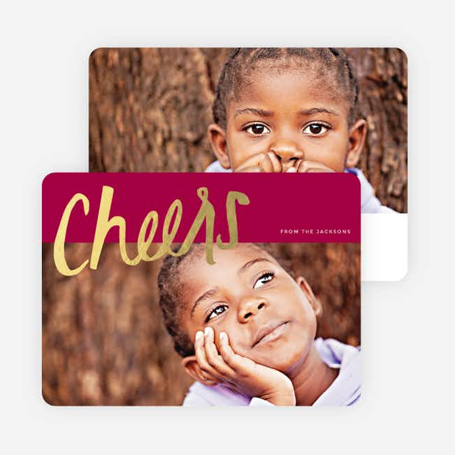 Script Cheers Foil Holiday Cards - Red