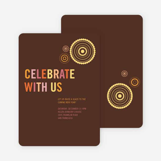 Fireworks New Year's Party Invitations - Espresso