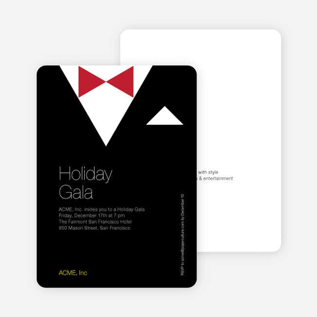 Formal Holiday Invitation Featuring Tuxedo Theme - Black