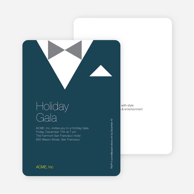 Formal holiday party invitation featuring tuxedo theme paper culture stopboris Image collections