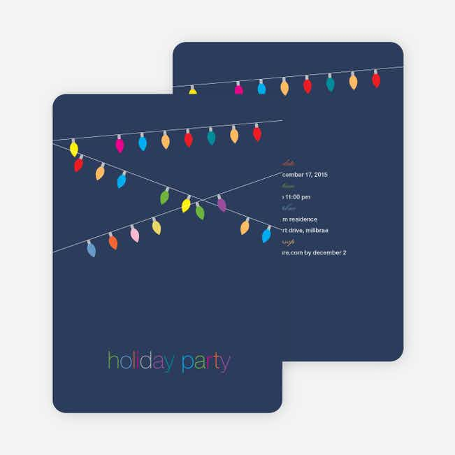 String of Christmas Lights Holiday Party Invitations - Navy Blue