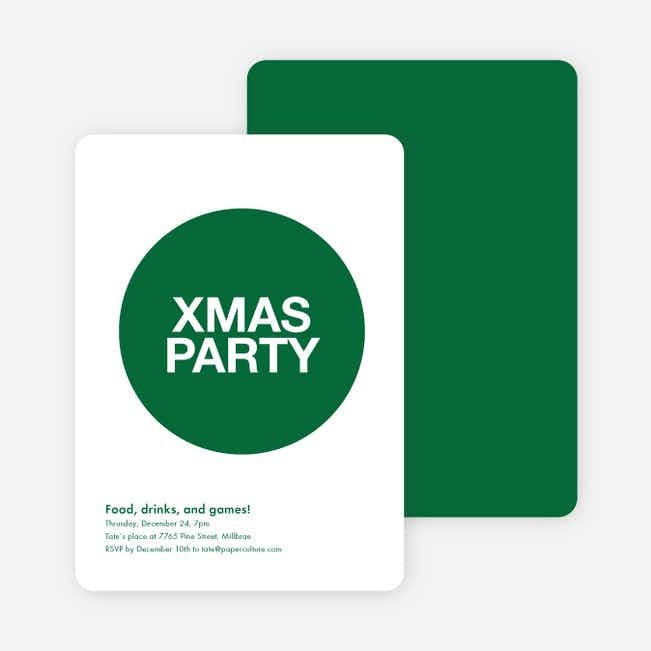 Overlapping Christmas Circles Invitations - Hunter Green