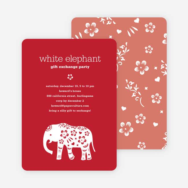 White Elephant Holiday Party Invitation (aka Secret Santa) - Strawberry Red