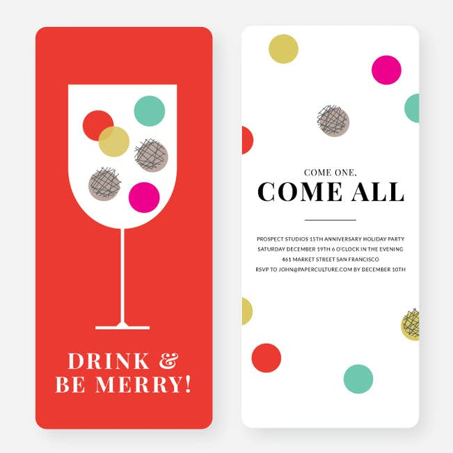 polka dots toast holiday party invitations paper culture