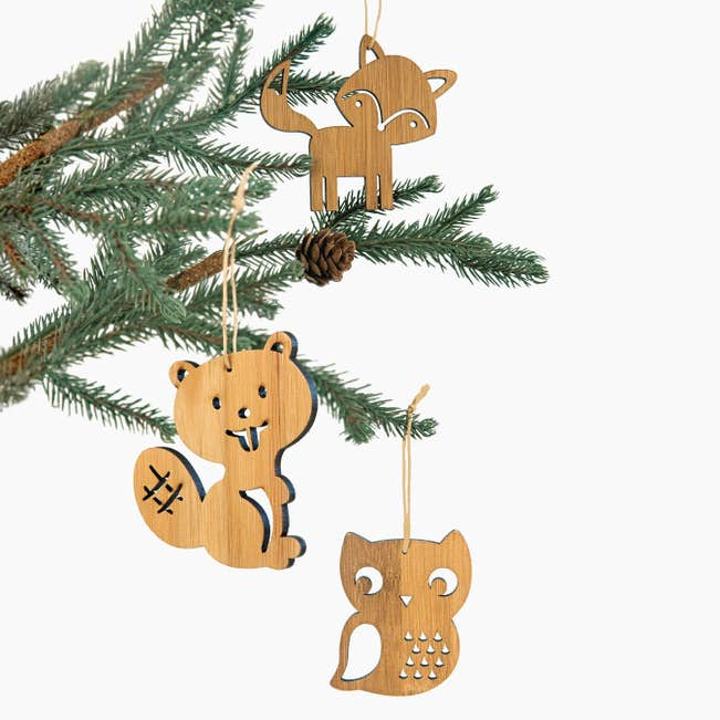 3 bamboo christmas ornaments main - Animal Christmas Decorations