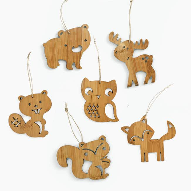 Set of 6 Forest Animal Bamboo Christmas Ornaments - Brown