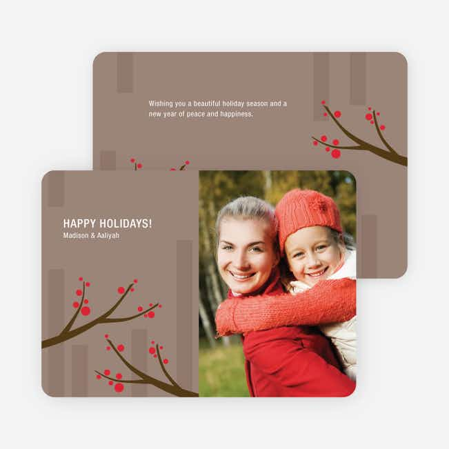 Abstract Branches Holiday Photo Cards - Cadet Blue