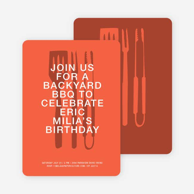 Backyard BBQ Invitations - Medium Red