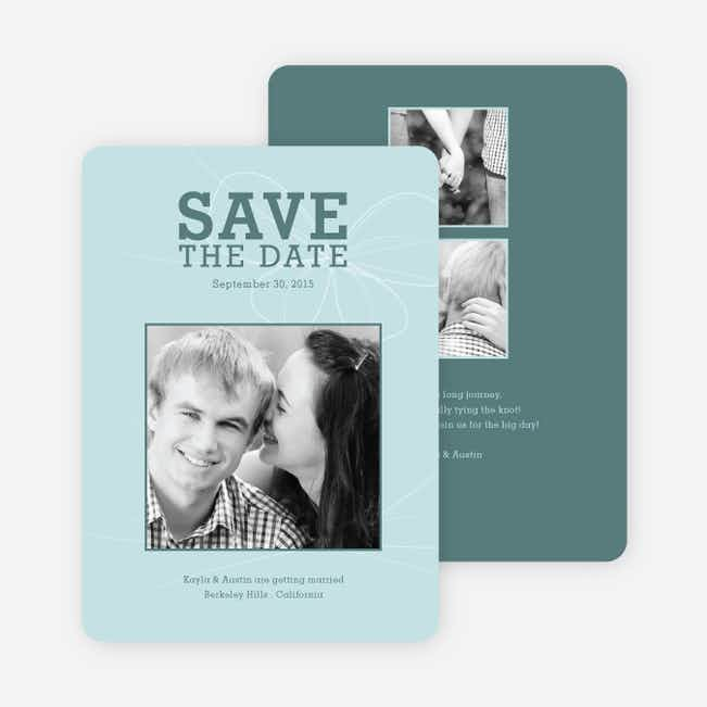 Bow Inspired Save the Date Cards - Mint Blue