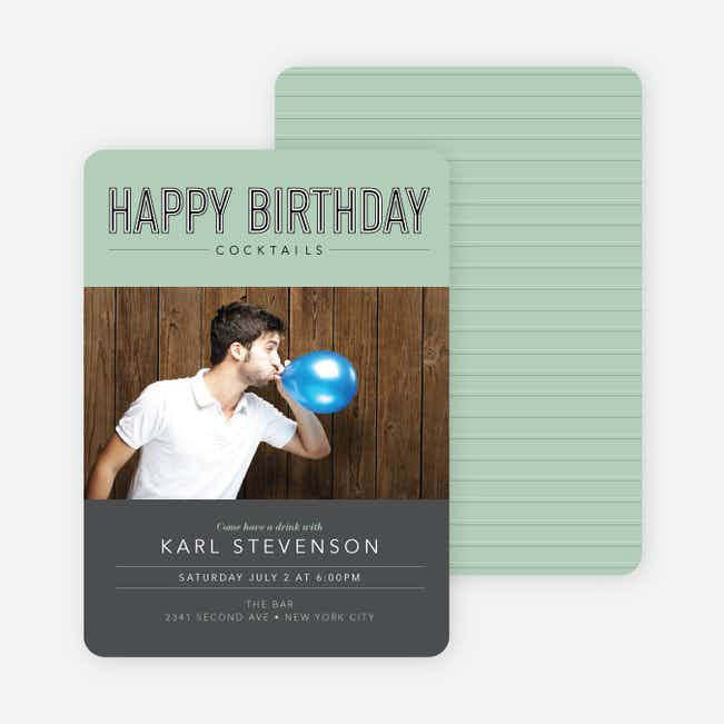 Cocktail Themed Birthday Party Invitations - Green
