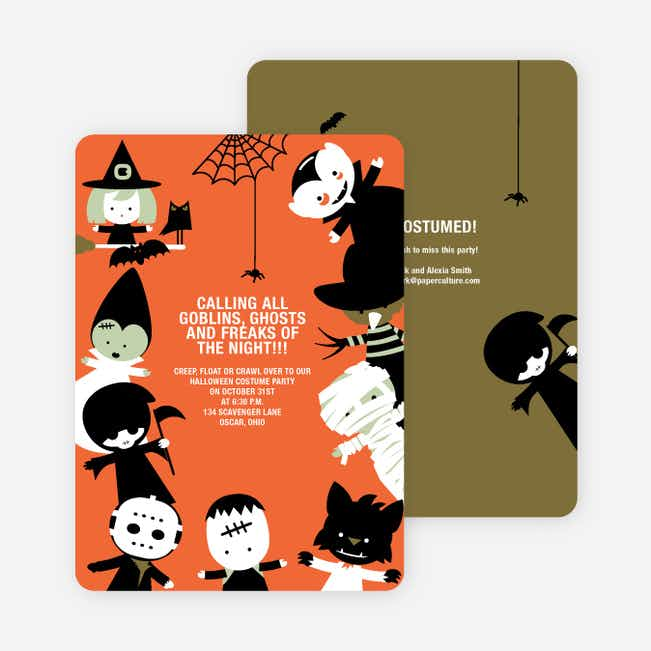 Costume Party Halloween Invites - Orange