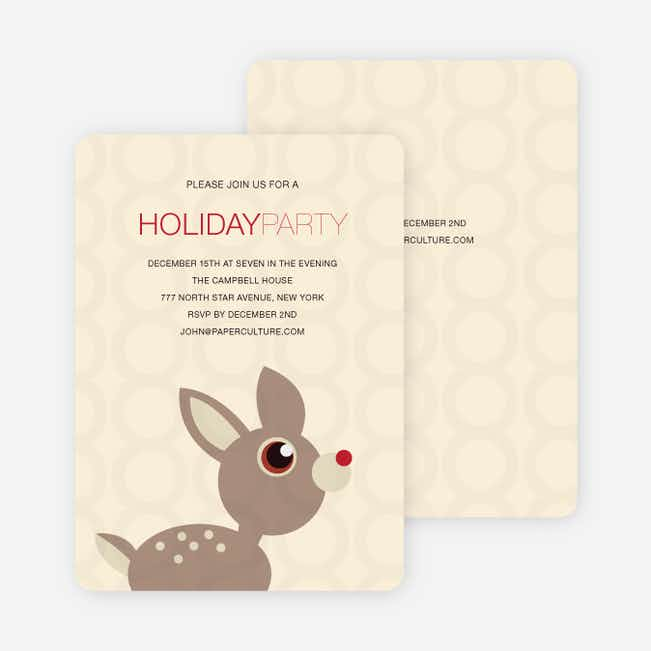 Deer Themed Holiday Party Invitations - Cream