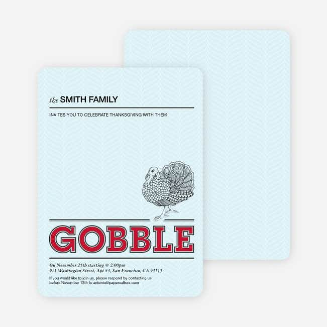 Gobble Gobble Thanksgiving Cards - Raspberry
