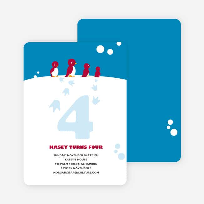 Happy Feet Penguin Birthday Invitation - Cyan