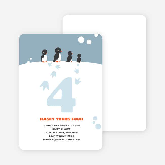 Happy Feet Penguin Birthday Invitation - Celestial Blue