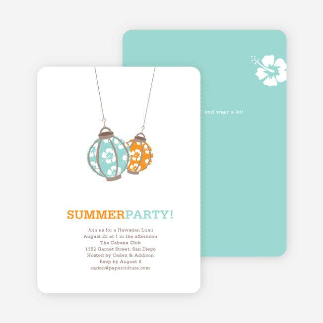 Hawaiian Luau Party Invitations - Tangerine