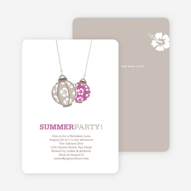Hawaiian Luau Party Invitations - Violet