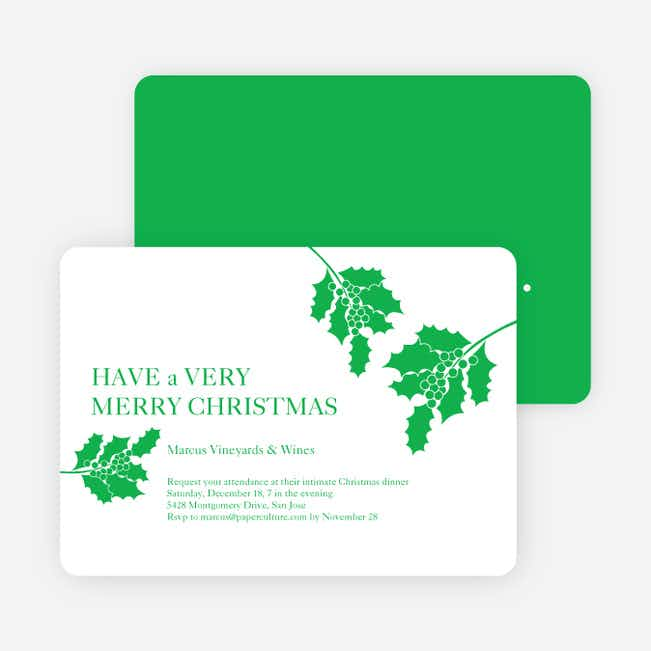 Holly Holidays Holiday Party Invitations - Shamrock