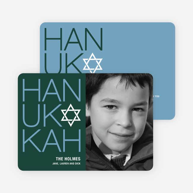 Modern HANUKKAH Photo Cards - Cadet Blue