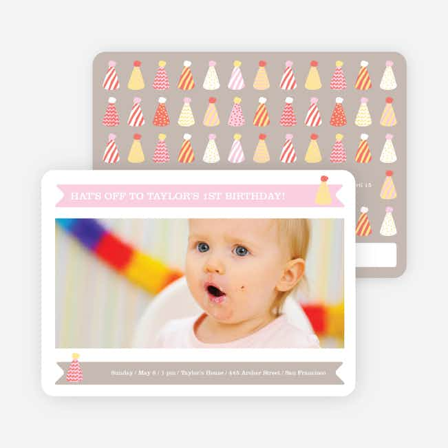 Modern Photo Birthday Invitations - Pink