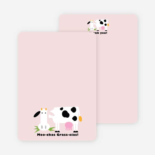 Moo-chas Grass-cias Cow Stationery - Blush