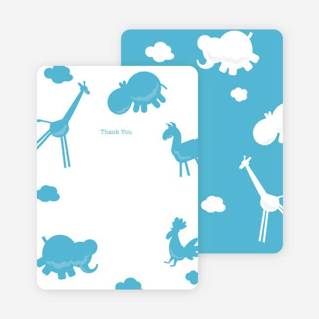 Note Cards: 'Animal Downpour' cards. - Cornflower Blue