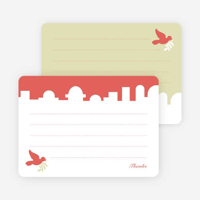 Note Cards: 'Dove Over Bethlehem' cards. - Watermelon Red