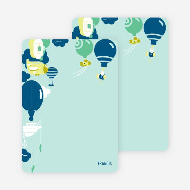 Note Cards: 'Up up and away!' cards. - Pistachio