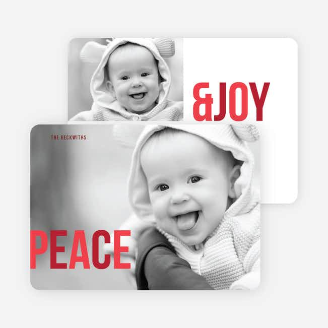 Peace & Joy Holiday Photo Cards - Red