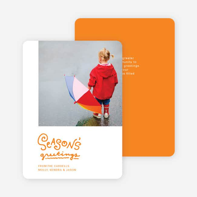 Season's Greetings Holiday Cards by the Script - Orange