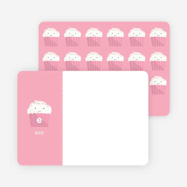 Stationery: 'Cupcake Birthday Invitation' cards. - Bubble Gum Pink