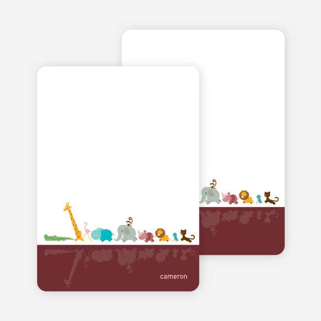 Stationery: 'Zoo Parade' cards. - Sangria