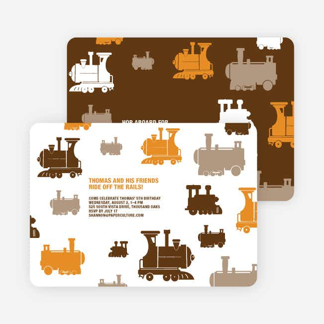 Thomas Loves the Train: Birthday Party Invitation - Orange