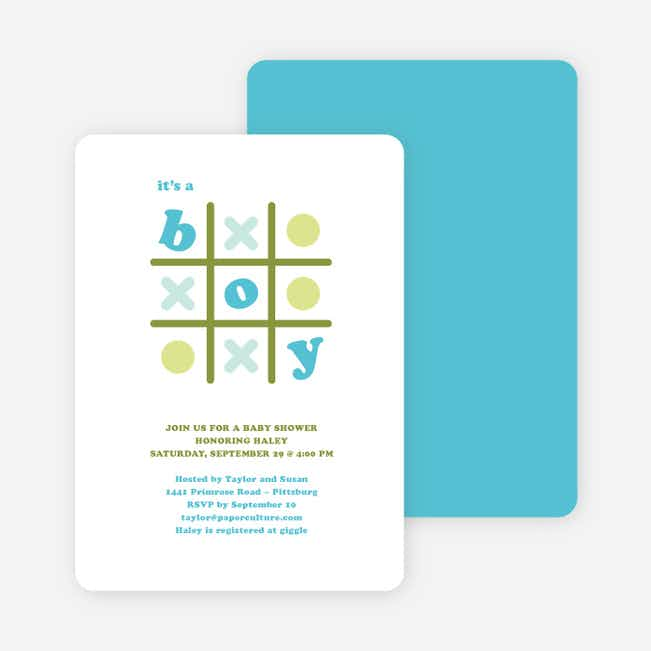 Tic Tac Toe Boy Baby Shower Invitations - Blue