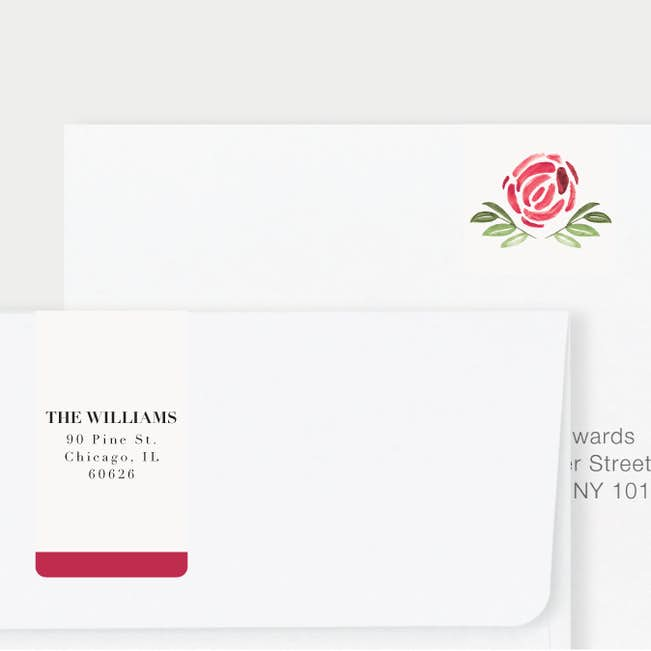 strokes of floral wedding return address labels paper culture