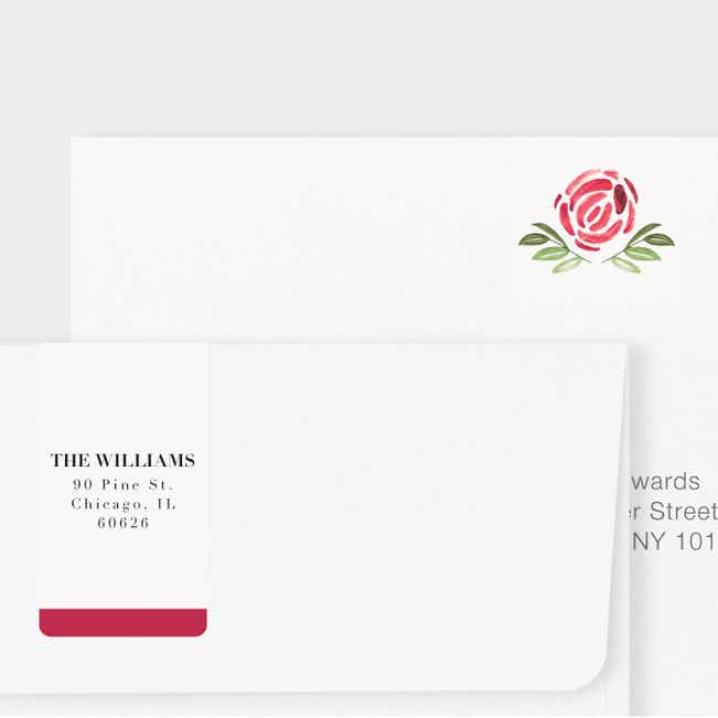 Strokes of Floral Wedding Return Address Labels - Red