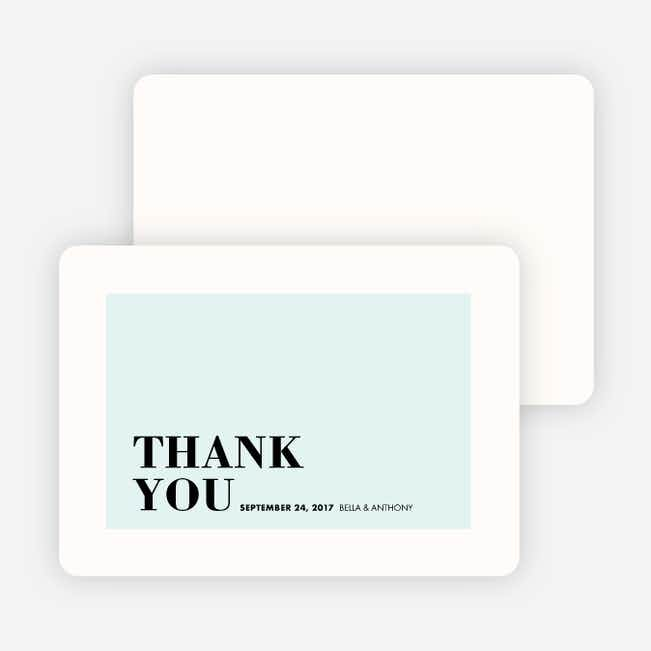 Boldly Typographic Wedding Thank You Cards - Blue