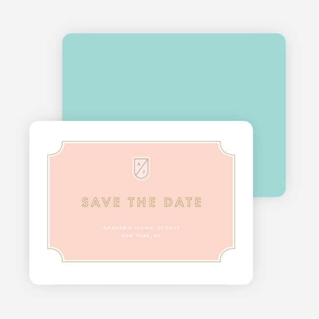 Tomorrow's Crest Wedding Save the Date Cards - Pink