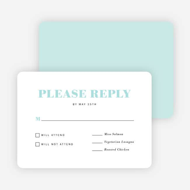 Simple & Chic Wedding Response Cards - Blue
