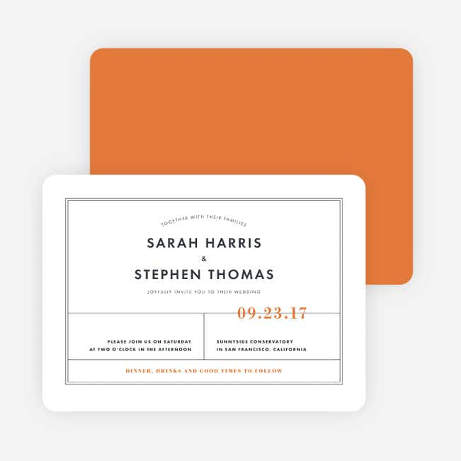 Modern and Classic Wedding Invitations - Orange
